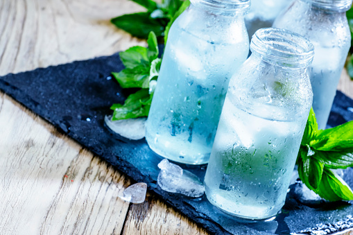 cold mineral water with ice 543578712