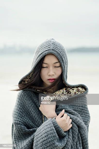 cold - hood clothing stock photos and pictures