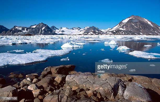 cold reflections - greenland stock pictures, royalty-free photos & images