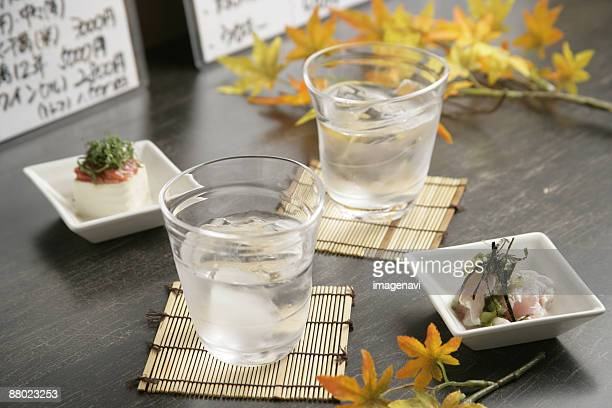 Cold sake and appetizer