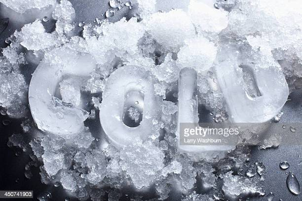 Cold' spelled out with ice