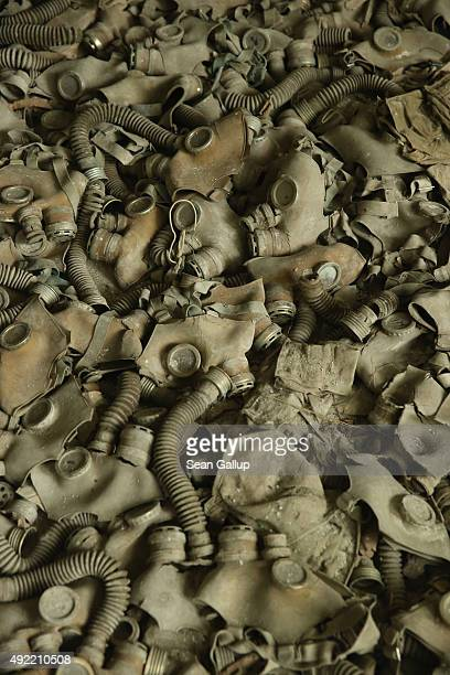 Cold Warera gas masks once common in the former Soviet Union lie strewn on the floor in a classroom of abandoned School Number 3 on September 30 2015...