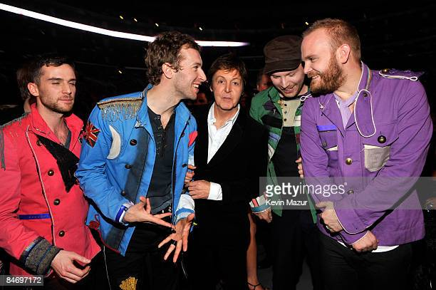 LOS ANGELES CA FEBRUARY 08 *EXCLUSIVE* Coldplay and Sir Paul McCartney at the 51st Annual GRAMMY Awards at the Staples Center on February 8 2009 in...