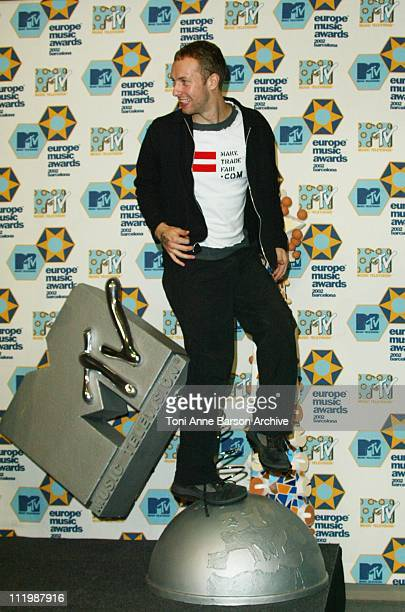 Coldplay during 2002 MTV European Music Awards Press Room at Palau Sant Jordi in Barcelona Spain