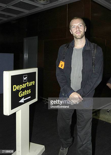 Coldplay lead singer Chris Martin at Dublin Airport after performing at the Guinness Witnness Festival at Punchestown Racecourse July 12 2003 in...