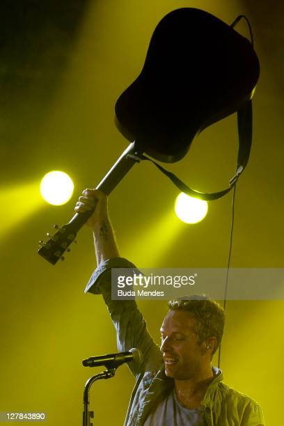 Coldplay performs on stage during a concert in the Rock in Rio Festival on October 01 2011 in Rio de Janeiro Brazil Rock in Rio Festival comes back...