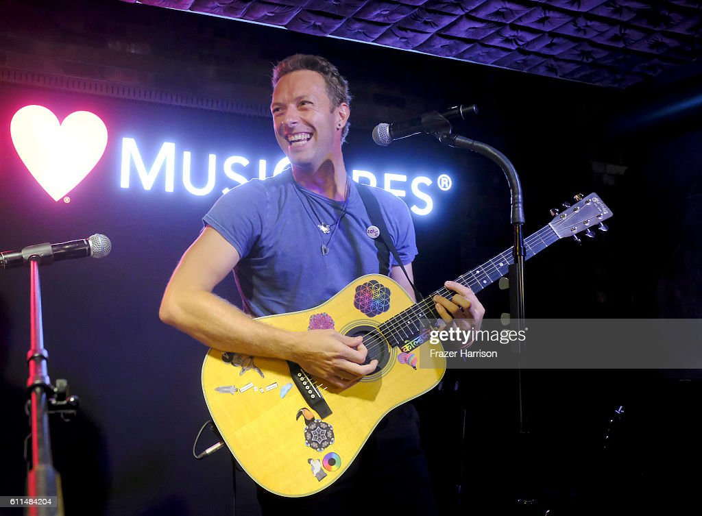 Coldplay's Chris Martin sings onstage during a special performance hosted by Live Nation to benefit MusiCares, a charity of The Recording Academy, at Live Nation Live on September 29, 2016 in Beverly Hills California. In honor of this first-ever private music industry event, a contribution of $250,000 was made by Live Nation to benefit MusiCares' health and human services programs.