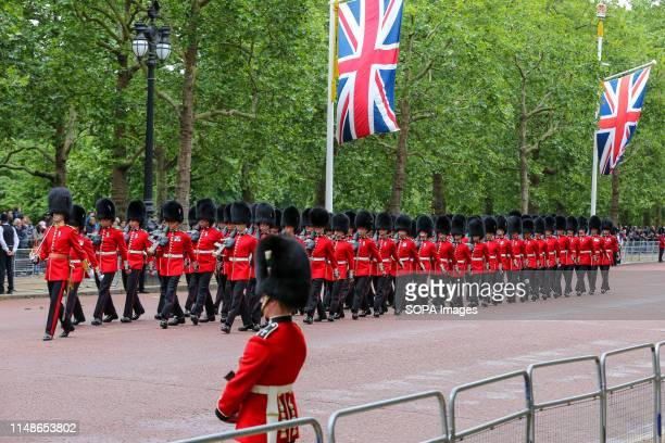 Cold-stream Guards march to the Horse Guards Parade during the Trooping the Colour ceremony to marks the 93rd birthday of Queen Elizabeth II,...