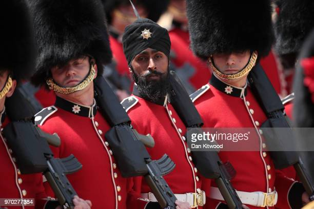Coldstream Guards soldier Charanpreet Singh Lall the first to wear a turban during the ceremony at The Royal Horseguards during Trooping The Colour...