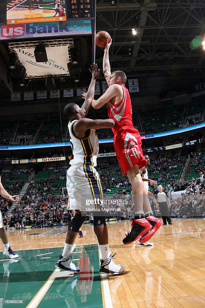 Cole Aldrich #31 of the Houston Rockets puts up a shot against the Utah Jazz at Energy Solutions Arena on January 28, 2013 in Salt Lake City, Utah.