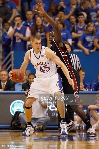 Cole Aldrich of the Kansas Jayhawks moves for the basket during the game against the New Mexico State Aggies on December 3 2008 at Allen Fieldhouse...