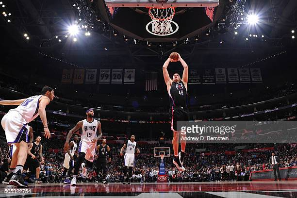 Cole Aldrich of the Los Angeles Clippers goes for the dunk against the Sacramento Kings during the game on January 16 2016 at STAPLES Center in Los...