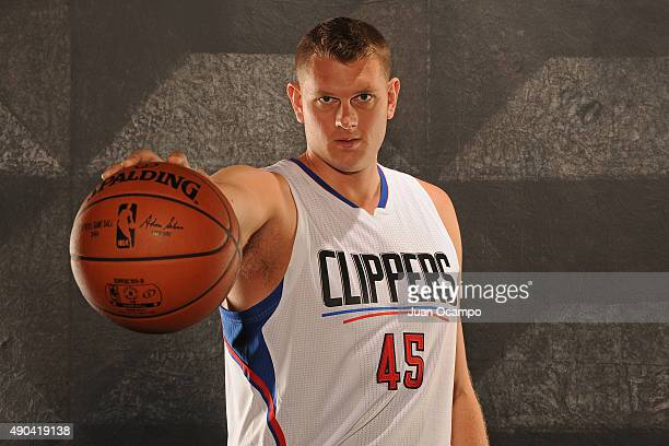 Cole Aldrich of the Los Angeles Clippers poses for a portrait during media day at the Los Angeles Clippers Training Center on September 25 2015 in...