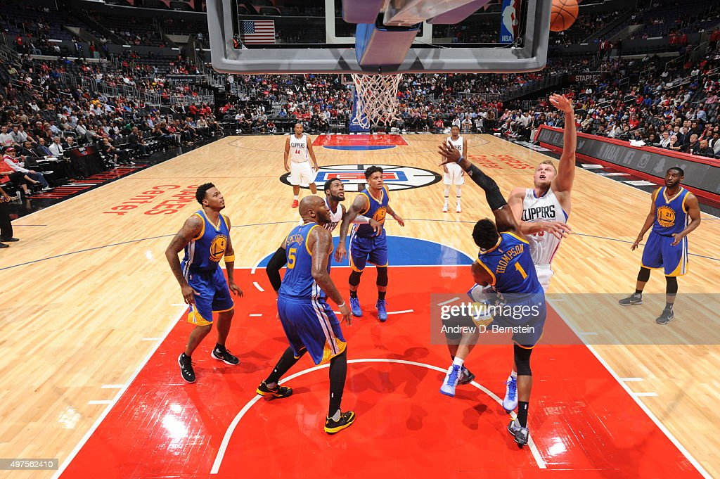 Cole Aldrich #45 of the Los Angeles Clippers shoots the ball against the Golden State Warriors on October 20, 2015 at STAPLES Center in Los Angeles, California.