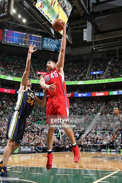 Cole Aldrich of the Los Angeles Clippers shoots the ball against the Utah Jazz on December 26 2015 at vivintSmartHome Arena in Salt Lake City Utah...
