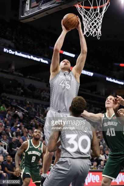 Cole Aldrich of the Minnesota Timberwolves goes to the basket against the Milwaukee Bucks on February 1 2018 at Target Center in Minneapolis...