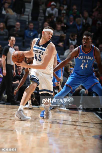 Cole Aldrich of the Minnesota Timberwolves looks to pass the ball during the game against the Oklahoma City Thunder on January 10 2018 at Target...