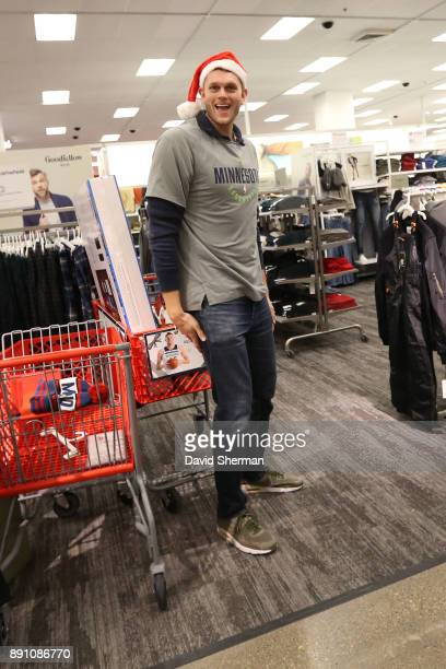 Cole Aldrich of the Minnesota Timberwolves participates in the Minnesota Timberwolves Christmas Shopping event at Target on December 8 2017 in...