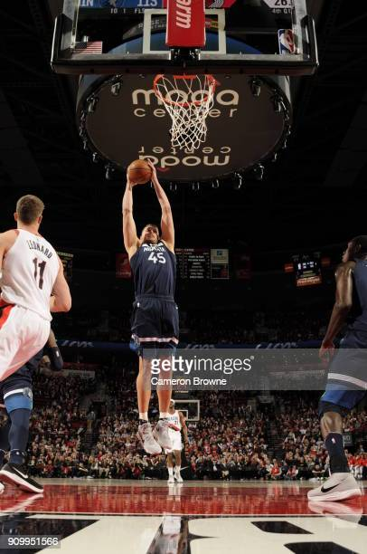 Cole Aldrich of the Minnesota Timberwolves rebounds the ball during the game against the Portland Trail Blazers on January 18 2018 at the Moda Center...