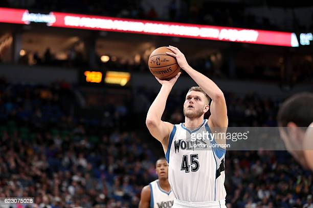 Cole Aldrich of the Minnesota Timberwolves shoots a free throw during the game against the Los Angeles Lakers on November 13 2016 at Target Center in...