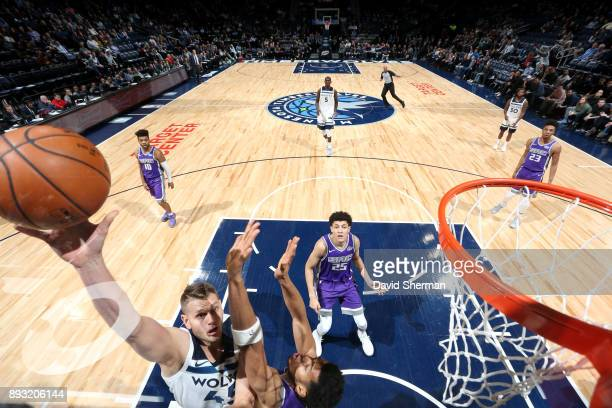 Cole Aldrich of the Minnesota Timberwolves shoots the ball against the Sacramento Kings on December 14 2017 at Target Center in Minneapolis Minnesota...