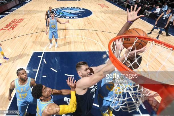 Cole Aldrich of the Minnesota Timberwolves shoots the ball against the Los Angeles Lakers on January 1 2018 at Target Center in Minneapolis Minnesota...