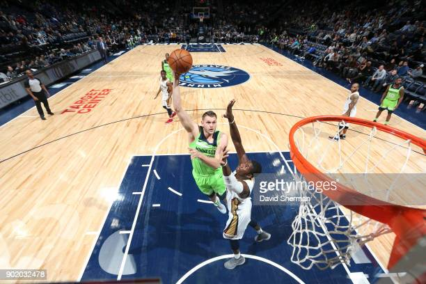 Cole Aldrich of the Minnesota Timberwolves shoots the ball against the New Orleans Pelicans on January 6 2018 at Target Center in Minneapolis...