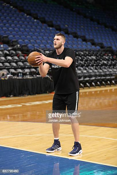 Cole Aldrich of the Minnesota Timberwolves warms up before a game against the Indiana Pacers on January 26 2017 at Target Center in Minneapolis...