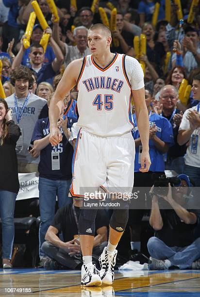 Cole Aldrich of the Oklahoma City Thunder stands on the court during a game against the Utah Jazz on October 31 2010 at the Ford Center in Oklahoma...