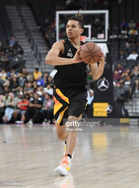 Cole Anthony brings the ball up the court during the Jordan Brand Classic boys high school allstar basketball game at TMobile Arena on April 20 2019...