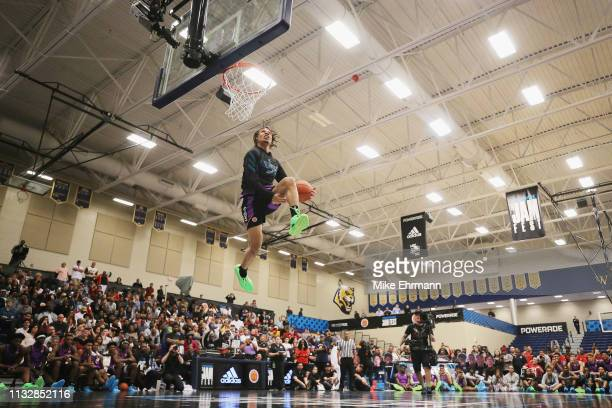 Cole Anthony competes in the dunk contest during the 2019 Powerade Jam Fest on March 25 2019 in Marietta Georgia