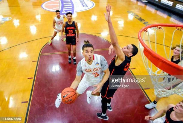 Cole Anthony of Oak Hill Academy attempts a shot against Wasatch Academy in the quarterfinal of the GEICO High School National Tournament at Christ...