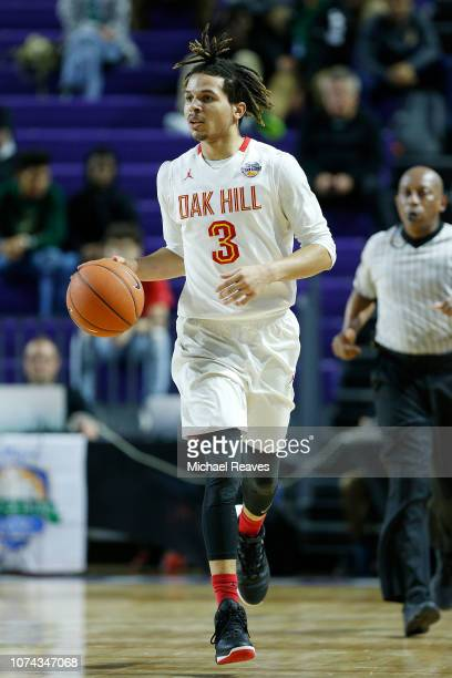 Cole Anthony of Oak Hill Academy dribbles against Riverview High School during the City of Palms Classic at Suncoast Credit Union Arena on December...