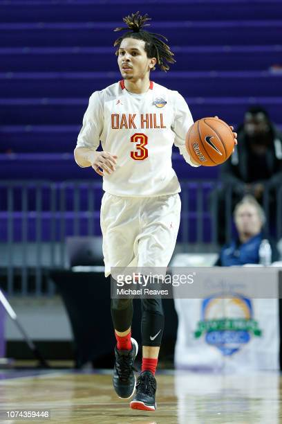 Cole Anthony of Oak Hill Academy dribbles with the ball against Riverview High School during the City of Palms Classic at Suncoast Credit Union Arena...