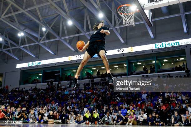 Cole Anthony of Oak Hill Academy dunks during the City Of Palms Classic Dunk Contest at Suncoast Credit Union Arena on December 19 2018 in Fort Myers...