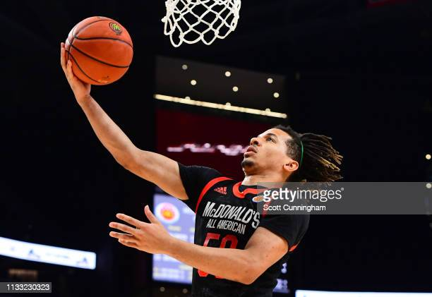Cole Anthony of Oak Hill Academy in Virginia drives to the basket during the 2019 McDonald's High School Boys AllAmerican Game on March 27 2019 at...