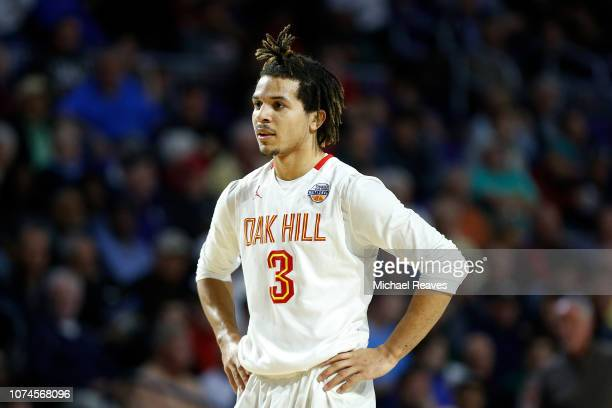Cole Anthony of Oak Hill Academy looks on against Imhotep Charter High School during the City Of Palms Classic at Suncoast Credit Union Arena on...