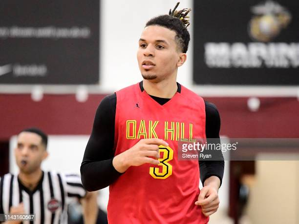 Cole Anthony of Oak Hill Academy looks on against La Lumiere in the semifinal of the GEICO High School National Tournament at Christ the King High...