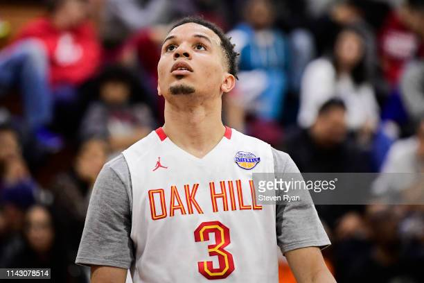 Cole Anthony of Oak Hill Academy looks on against Wasatch Academy in the quarterfinal of the GEICO High School National Tournament at Christ the King...