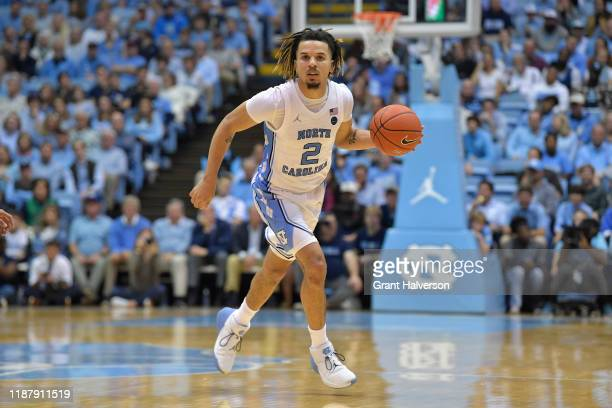 Cole Anthony of the North Carolina Tar Heels against the Notre Dame Fighting Irish during their game at the Dean Smith Center on November 06, 2019 in...