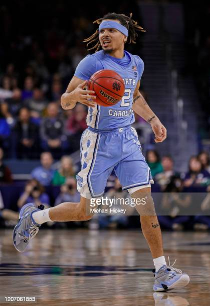 Cole Anthony of the North Carolina Tar Heels brings the ball up court during the game against the Notre Dame Fighting Irish at Purcell Pavilion on...