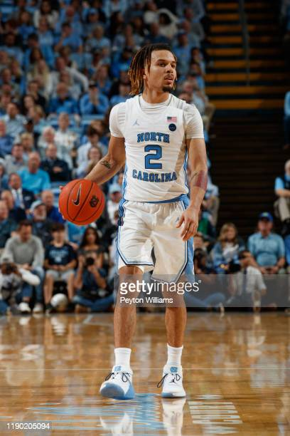 Cole Anthony of the North Carolina Tar Heels dribbles the ball during a game against the Notre Dame Fighting Irish on November 06, 2019 at the Dean...