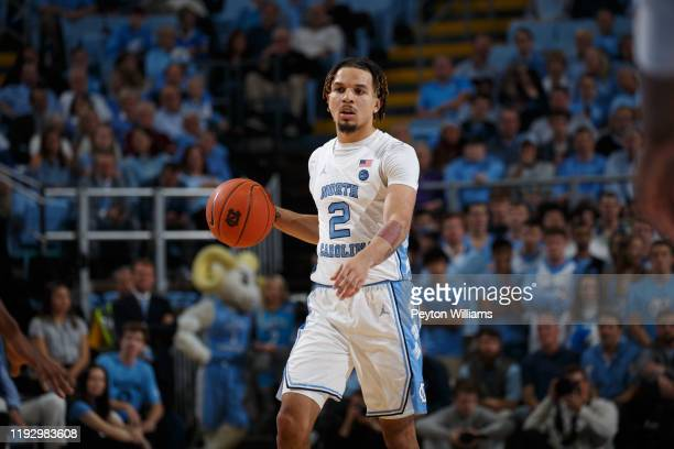 Cole Anthony of the North Carolina Tar Heels dribbles the ball during a game against the Elon Phoenix on November 20, 2019 at the Dean Smith Center...
