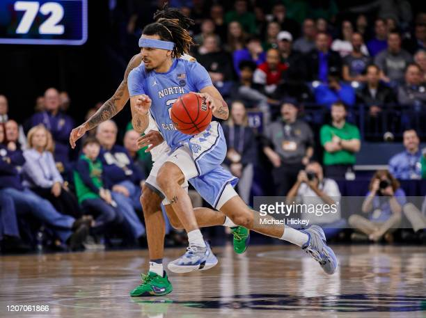 Cole Anthony of the North Carolina Tar Heels dribbles the ball during the game against the Notre Dame Fighting Irish at Purcell Pavilion on February...