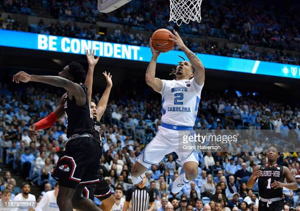 Cole Anthony of the North Carolina Tar Heels drives to the basket against the Gardner-Webb Runnin Bulldogs during the second half of their game at...