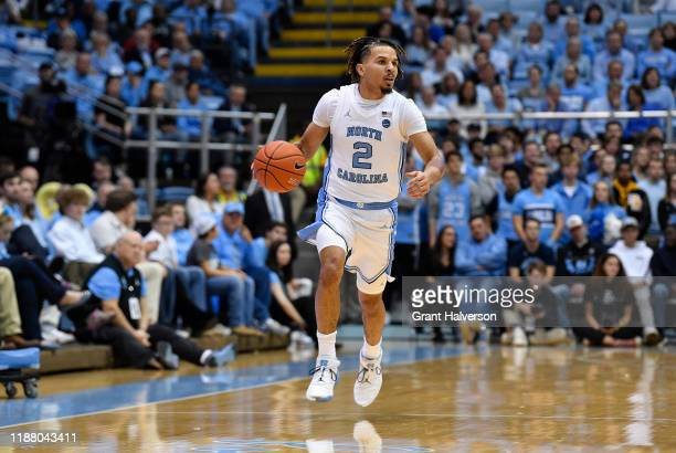 Cole Anthony of the North Carolina Tar Heels during their game against the Gardner-Webb Runnin Bulldogs at the Dean Smith Center on November 15, 2019...