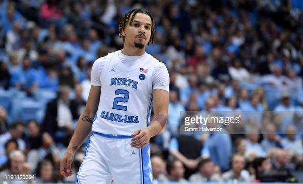 Cole Anthony of the North Carolina Tar Heels during their game against the Elon Phoenix at the Dean Smith Center on November 20, 2019 in Chapel Hill,...