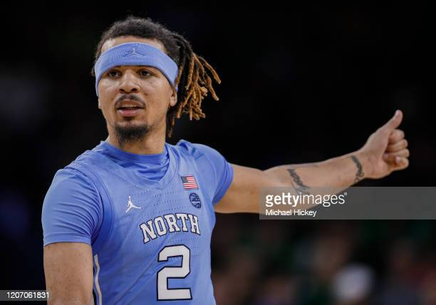 Cole Anthony of the North Carolina Tar Heels is seen during the game against the Notre Dame Fighting Irish at Purcell Pavilion on February 17, 2020...