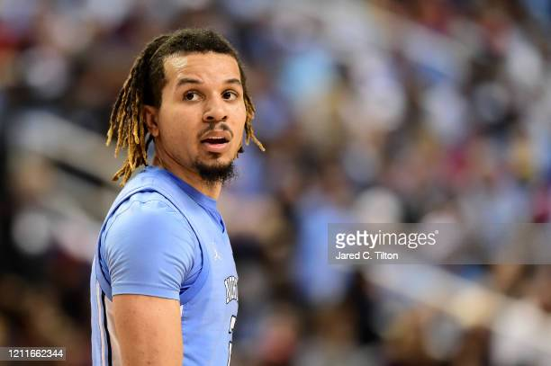 Cole Anthony of the North Carolina Tar Heels looks following a play against the Virginia Tech Hokies during their game in the first round of the 2020...