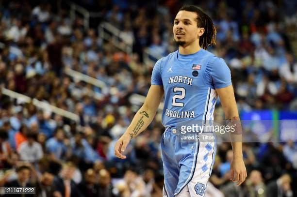 Cole Anthony of the North Carolina Tar Heels looks on during their game against the Virginia Tech Hokies in the first round of the 2020 Men's ACC...